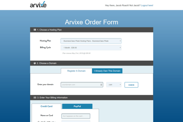 arvixe-review-checkout