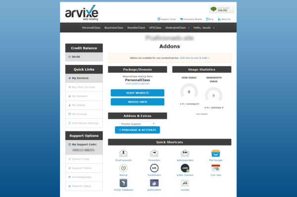 arvixe-review-client-area