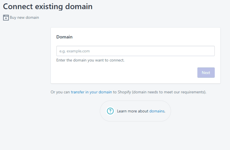 Shopify-Connect-Existing-Domain
