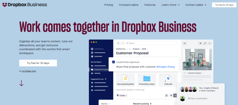 Dropbox-Business-homepage-2019