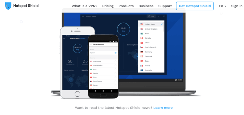 HotSpot-Shield-VPN-主页-2019