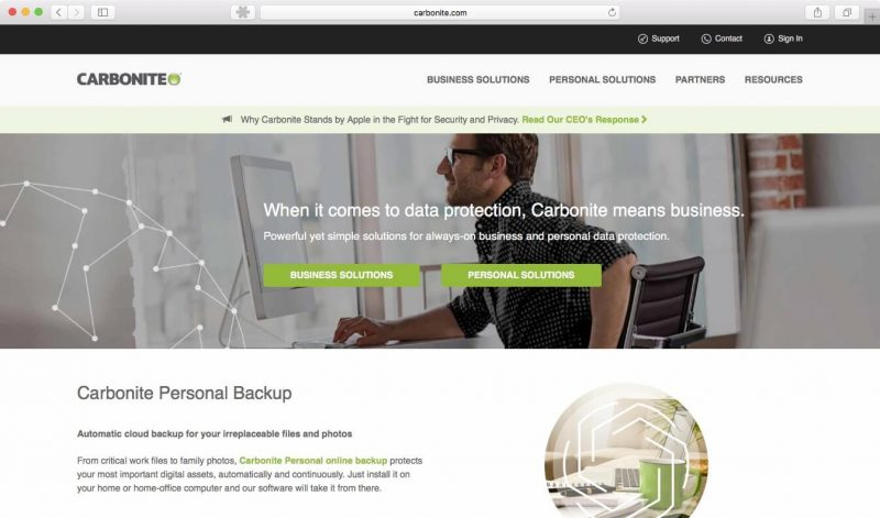Carbonite Review Homepage