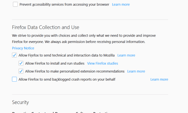 Firefox -DataCollectionSettings