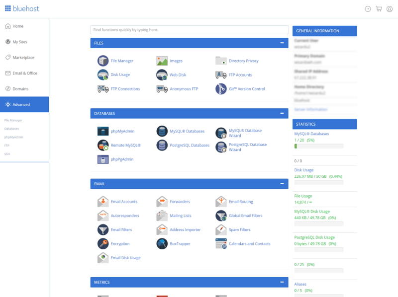 bluehost-review-cpanel