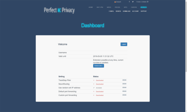 PerfectPrivacy-Site-Dashboard