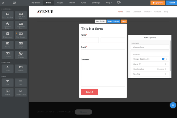 weebly form editor